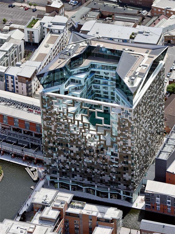 Cube exterior venue aerial view